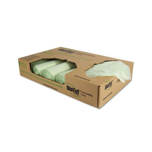 Heritage Biotuf Compostable Can Liners, 48 Gal, 1 Mil, 42 X 48, Light Green, 100-carton