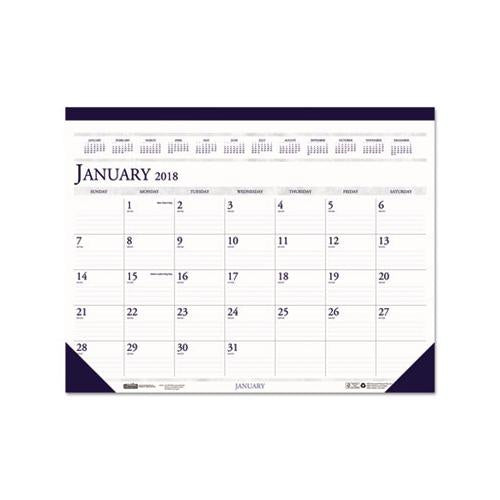 House of Doolittle; 100% Recycled Two-Color Dated Monthly Desk Pad Calendar