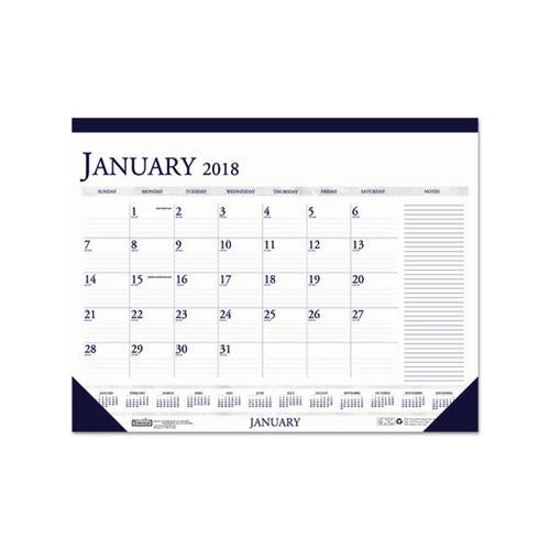 Doolittle RECYCLED TWO-COLOR MONTHLY DESK CALENDAR W-LARGE NOTES SECTION, 18 1-2 X13, 2019