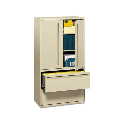 HON 700 SERIES LATERAL FILE W-STORAGE CABINET, 36W X 18D, PUTTY