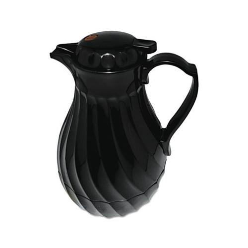 Hormel Poly Lined Carafe, Swirl Design, 64oz Capacity, Black