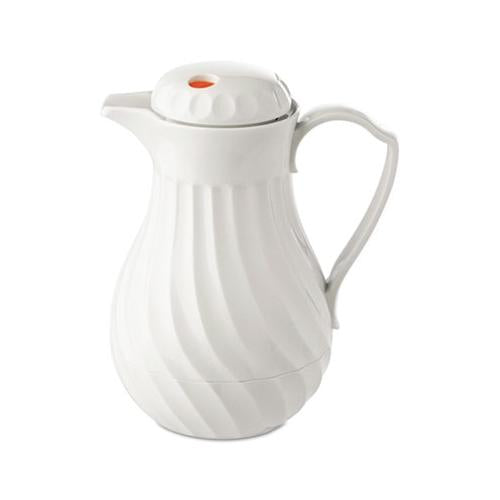 Hormel Poly Lined Carafe, Swirl Design, 40oz Capacity, White