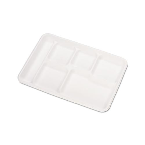 Chinet Heavy-Weight Molded Fiber Cafeteria Trays, 6-Comp, 8 1-2 X 12 1-2, 500-carton