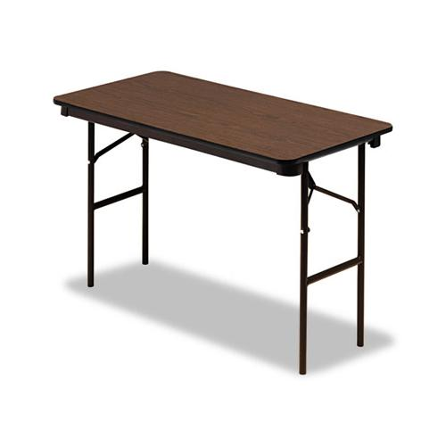 Iceberg Economy Wood Laminate Folding Table, Rectangular, 48w X 24d X 29h, Walnut