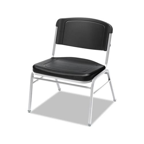 Iceberg Rough N Ready Series Big & Tall Stackable Chair, Black-silver, 4-carton