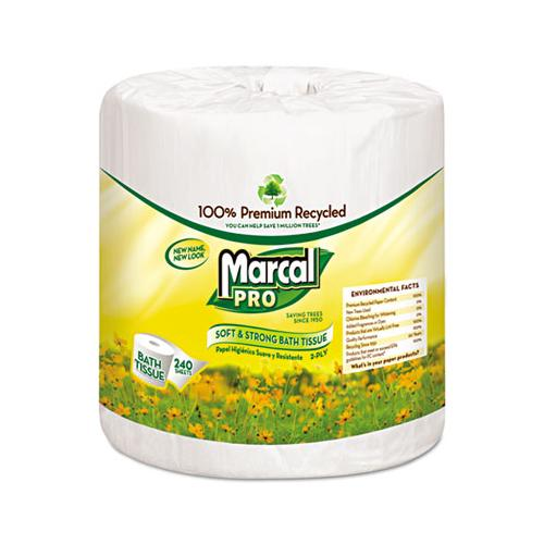 Marcal 100% Recycled Bathroom Tissue, White, 240 Sheets-roll, 48 Rolls-carton
