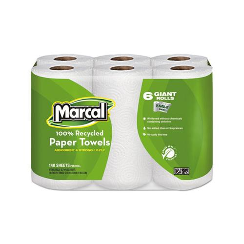 Marcal 100% Recycled Roll Towels, 2-Ply, 5 1-2 X 11, 140-roll, 6 Rolls-pack