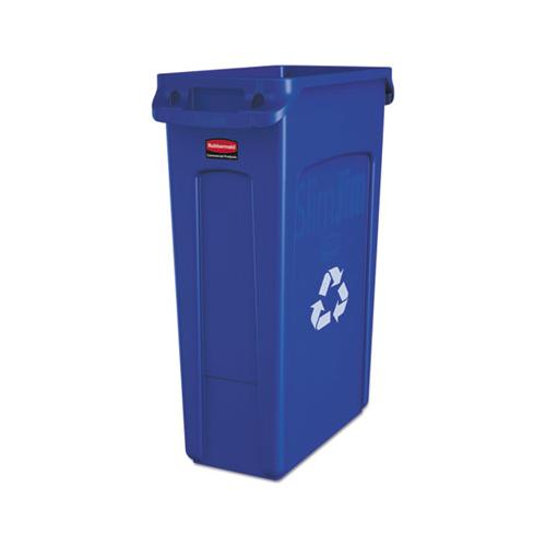 Rubbermaid Slim Jim Recycling Container W-venting Channels, Plastic, 23 Gal, Blue