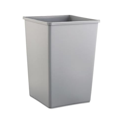 Rubbermaid UNTOUCHABLE SQUARE WASTE RECEPTACLE, PLASTIC, 35GAL, GRAY