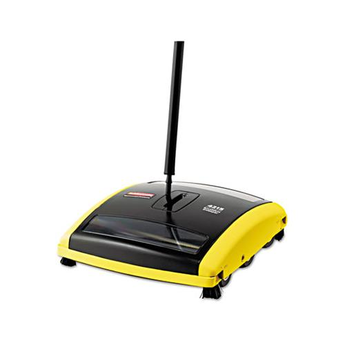 "Rubbermaid Brushless Mechanical Sweeper, 44"" Handle, Black-yellow"
