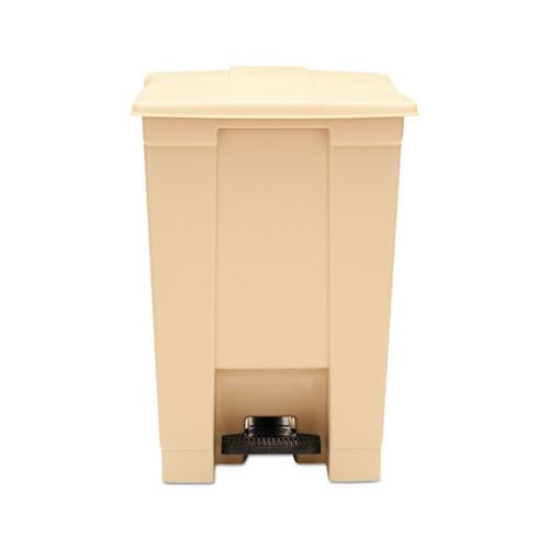 Rubbermaid Indoor Utility Step-On Waste Container, Square, Plastic, 12gal, Beige