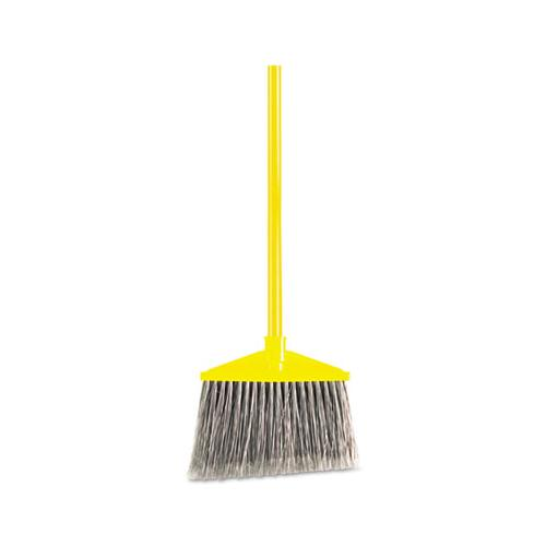 "Rubbermaid Angled Large Broom, Poly Bristles, 46 7-8"" Metal Handle, Yellow-gray"