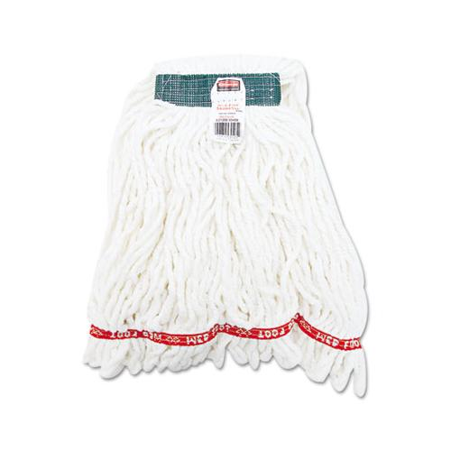 Rubbermaid Web Foot Shrinkless Looped-End Wet Mop Head, Cotton-synthetic, Medium, White