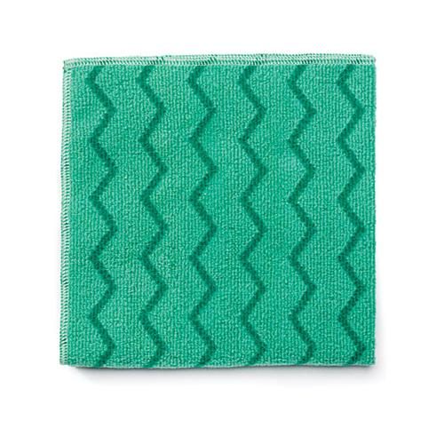 Rubbermaid Reusable Cleaning Cloths, Microfiber, 16 X 16, Green, 12-carton