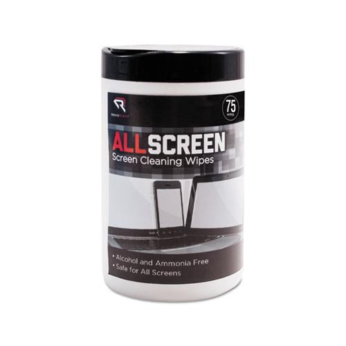 "Read Right Allscreen Screen Cleaning Wipes, 6"" X 6"", White, 75-tub"