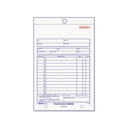 Rediform Purchase Order Book, Bottom Punch, 5 1-2 X 7 7-8, Two-Part Carbonless, 50 Forms