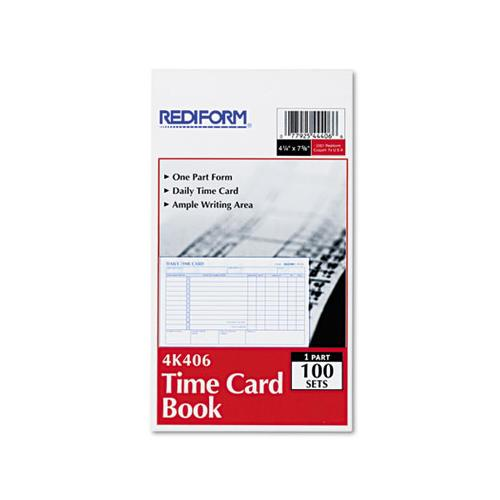 Rediform Employee Time Card, Daily, Two-Sided, 4-1-4 X 7, 100-pad