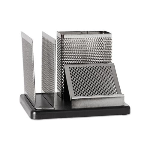 Rolodex Distinctions Desk Organizer, 5 7-8 X 5 7-8 X 4 1-2, Metal-black