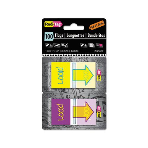 "Redi-Tag Pop-Up Fab Page Flags W-dispenser, ""look!"", Purple-yellow; Yellow-teal, 100-pack"