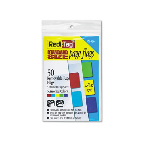 Redi-Tag Removable Page Flags, Red-blue-green-yellow-purple, 10-color, 50-pack