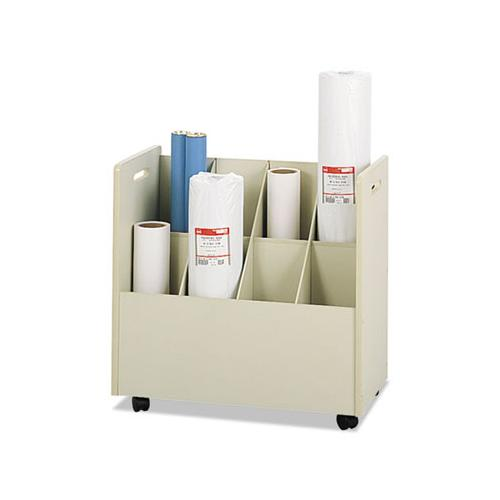 Safco Laminate Mobile Roll Files, Eight Compartments, 30-1-8 X 15-3-4 X 29-1-4, Putty