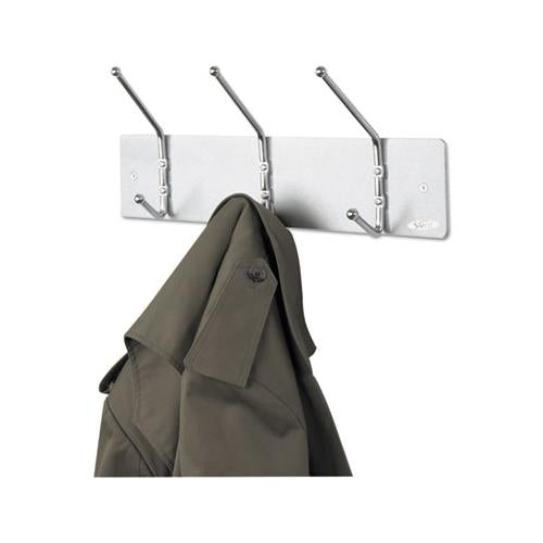 Safco Metal Wall Rack, Three Ball-Tipped Double-Hooks, 18w X 3-3-4d X 7h, Satin Metal