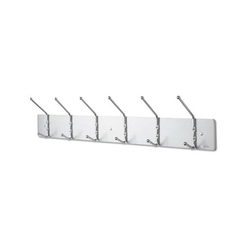Safco Metal Wall Rack, Six Ball-Tipped Double-Hooks, 36w X 3-3-4d X 7h, Satin Metal