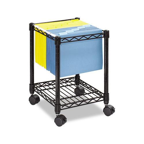 Safco Compact Mobile Wire File Cart, One-Shelf, 15-1-2w X 14d X 19-3-4h, Black