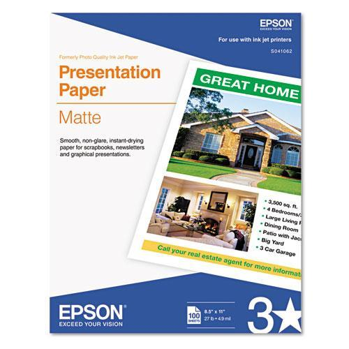 Epson Matte Presentation Paper, 27 Lbs., Matte, 8-1-2 X 11, 100 Sheets-pack-Epson®-Omni Supply