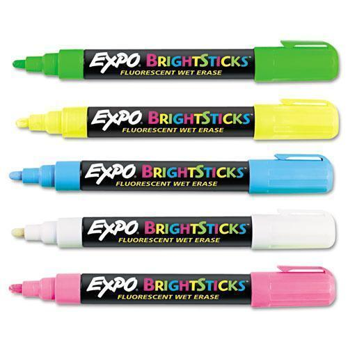 EXPO Bright Sticks Wet-Erase Fluorescent Marker Set, Bullet Tip, Assorted-EXPO®-Omni Supply