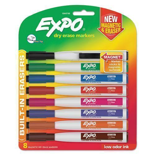 EXPO Magnetic Dry Erase Marker, Fine Tip, Assorted, 8-pack-EXPO®-Omni Supply
