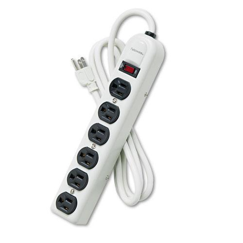 Fellowes Six-Outlet Metal Power Strip, 120v, 6ft Cord, 12 3-16 X 2 1-2 X 1 3-8, Platinum-Fellowes®-Omni Supply
