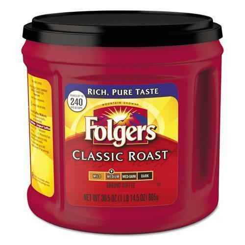 Folgers Coffee, Classic Roast, Ground, 30.5 Oz Canister, 6-carton-Folgers®-Omni Supply