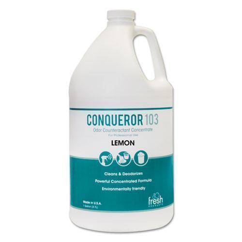 FreshProd Conqueror 103 Odor Counteractant Concentrate, Lemon, 1 Gal Bottle, 4-carton-Fresh Products-Omni Supply