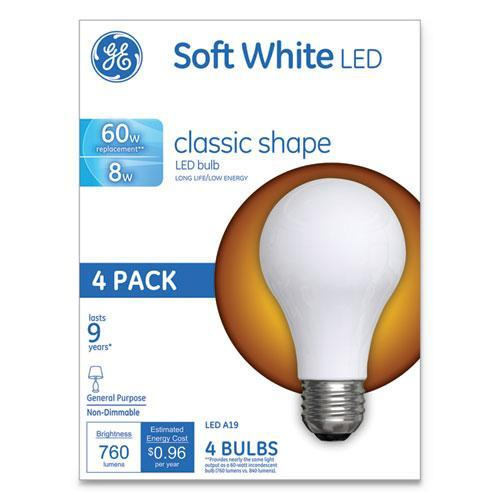 GE CLASSIC LED SOFT WHITE NON-DIM A19 LIGHT BULB, 8W, 4-PACK-GE-Omni Supply