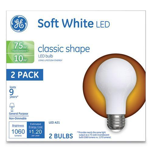 GE CLASSIC LED SOFT WHITE NON-DIM A21, 10W, 2-PACK-GE-Omni Supply