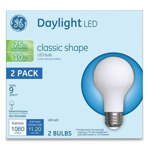 GE LED CLASSIC DAYLIGHT A21 LIGHT BULB, 10W, 2-PACK-GE-Omni Supply