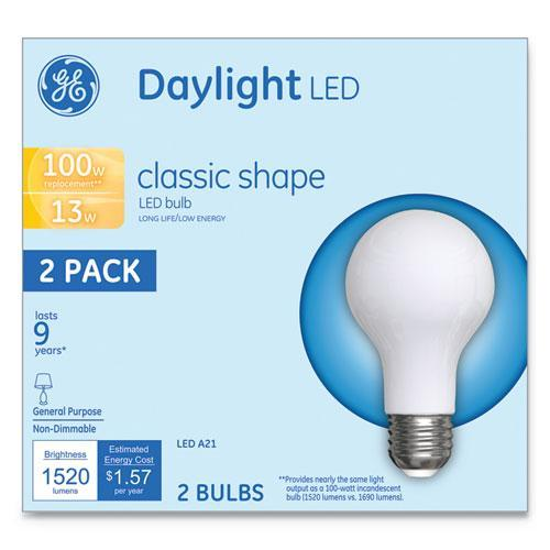 GE LED CLASSIC DAYLIGHT A21 LIGHT BULB, 13W, 2-PACK-GE-Omni Supply