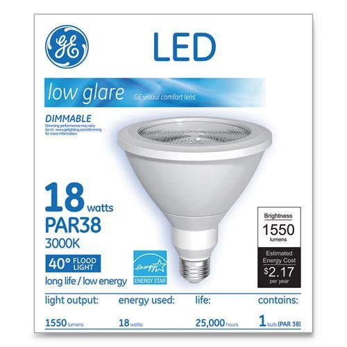 GE LED PAR38 DIMMABLE 40 DG WARM WHITE FLOOD LIGHT BULB, 18W-GE-Omni Supply