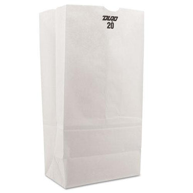 General #20 Paper Grocery Bag, 40lb White, Standard 8 1-4 X 5 5-16 X 16 1-8, 500 Bags-General-Omni Supply