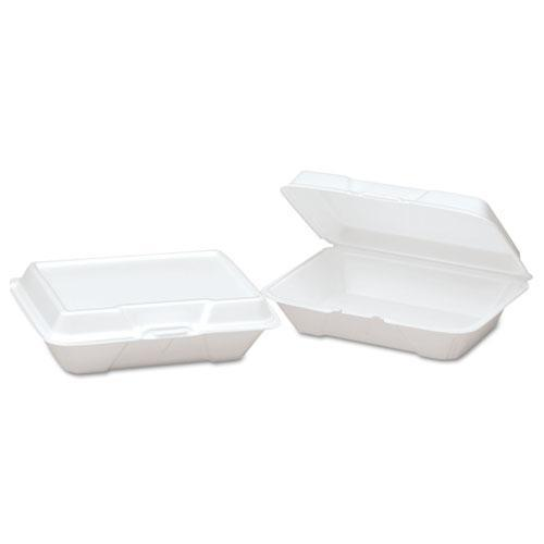 Genpak Foam Hinged Carryout Container, Shallow, 9-1-5x6-1-2x2-8-9, White, 100-bg, 2-ct-Genpak®-Omni Supply