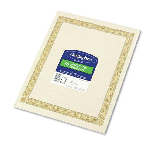 Geographic Parchment Paper Certificates, 8-1-2 X 11, Natural Diplomat Border, 50-pack-Geographics®-Omni Supply