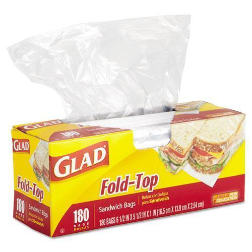 Glad Fold-Top Sandwich Bags, 6 1-2 X 5 1-2, Clear, 180-box-Glad®-Omni Supply