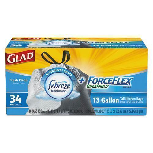 Glad Forceflex Odorshield Bags, Fresh Clean, 13gal, White, 34-box, 6 Boxes-carton-Glad®-Omni Supply