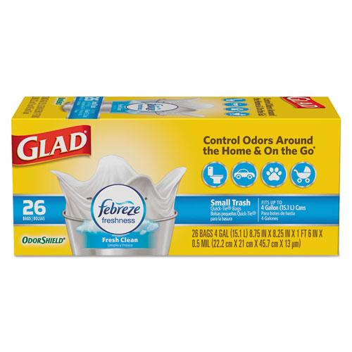 Glad Odorshield Quicktie Small Trash Bags, Fresh Clean, 4 Gal, 0.5mil, 26-bx, 6 Bx-ct-Glad®-Omni Supply