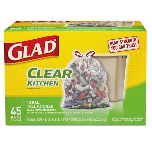 Glad Recycling Tall Kitchen Drawstring Trash Bags, Clear, 13 Gal, .9 Mil, 45-box-Glad®-Omni Supply