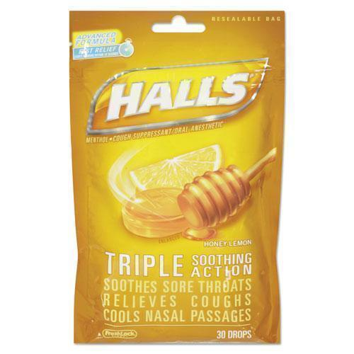 HALLS Triple Action Cough Drops, Honey-Lemon, 30-Bag, 12 Bags-Box-HALLS-Omni Supply