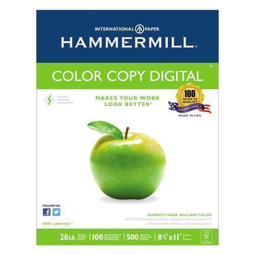 Hammermill COLOR COPY PAPER, 100 BRIGHT, 28LB, LETTER, PHOTO WHITE, 500-RM, 5 RM-CT-Hammermill®-Omni Supply