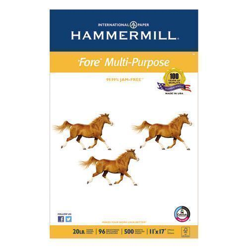 Hammermill FORE MULTIPURPOSE PAPER, 96 BRIGHT, 20LB, 11 X 17, WHITE, 500 SHEETS-REAM-Hammermill®-Omni Supply