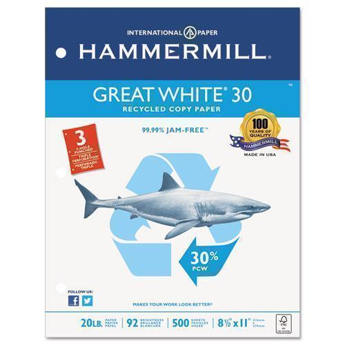 Hammermill GREAT WHITE 30 RECYCLED PAPER, 3-HOLE, 92 BRIGHT, 20LB, LETTER, 500-RM, 10 RM-CT-Hammermill®-Omni Supply